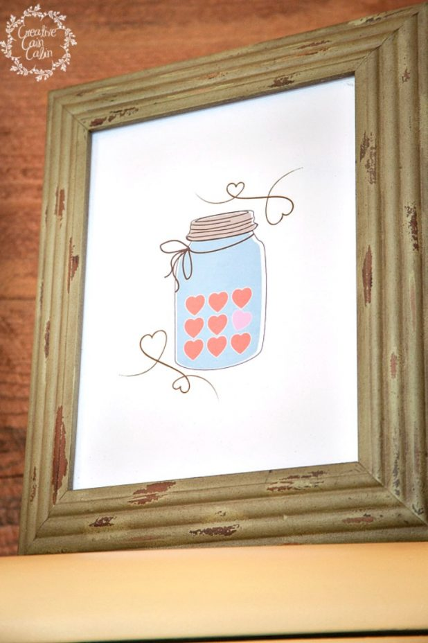 Valentine Candy Heart Mason Jar Printable | CreativeCainCabin.com