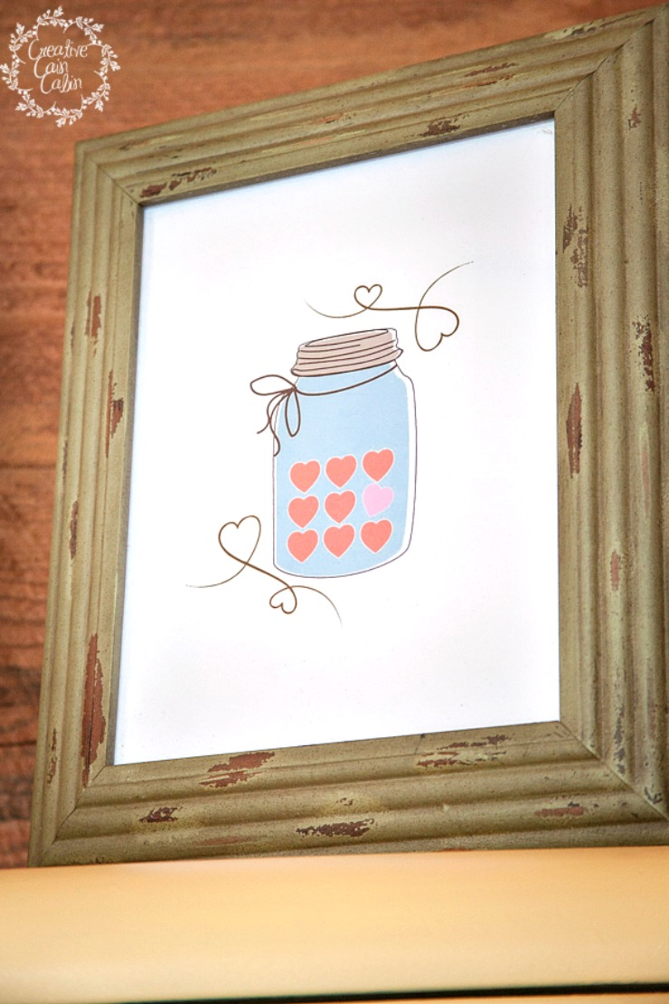 Valentine Candy Heart Mason Jar Printable | CreativeCainCabin.com
