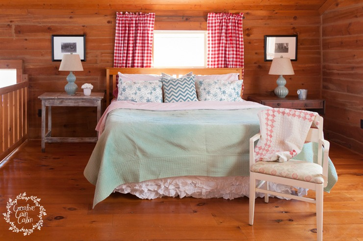 Master Bedroom in a Log Home Decor | Buffalo Check | CreativeCainCabin.com