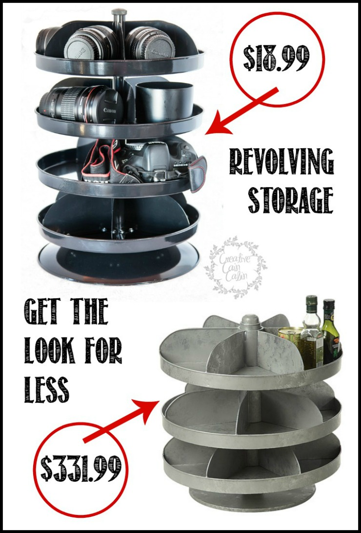 Revolving Storage | Get that Farmhouse Industiral Look for almost nothing | CreativeCainCabin.com