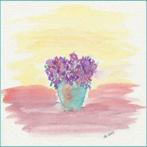 Rusty Bucket Filled with Flowers Watercolor | Free Printable Watercolor | CreativeCainCabin.com