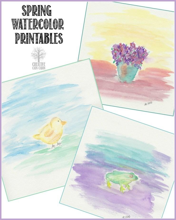 Spring Watercolor Printables   CreativeCainCabin.com