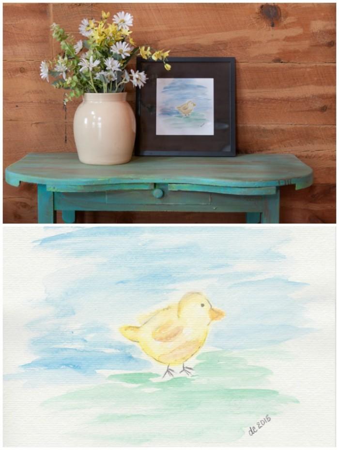 Watercolor Chick Printable | CreativeCainCabin.com