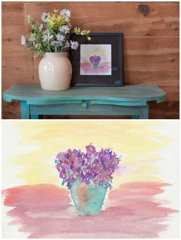Rusty Bucket Filled with Flowers Watercolor Printable | CreativeCainCabin.com