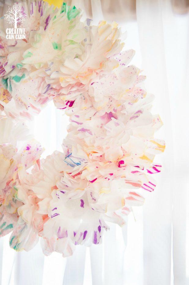 Watercolor Coffee Filter Wreath | Spring Wreath | DIY Wreath | CreativeCainCabin.com