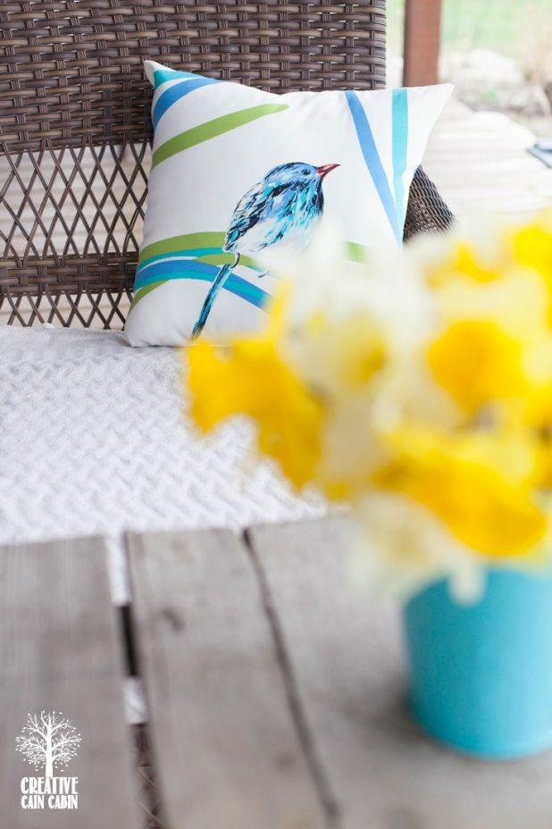 Daffodil Blooms   Bird Pillow   CreativeCainCabin.com