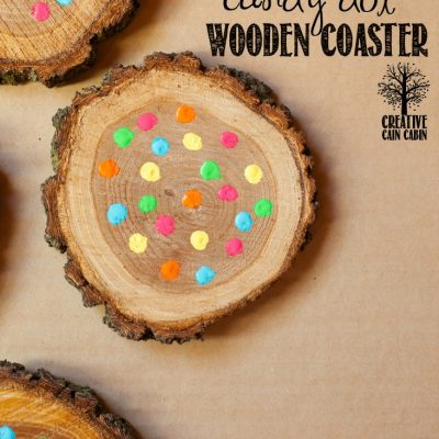 Wooden Coasters with Painted Candy Dots