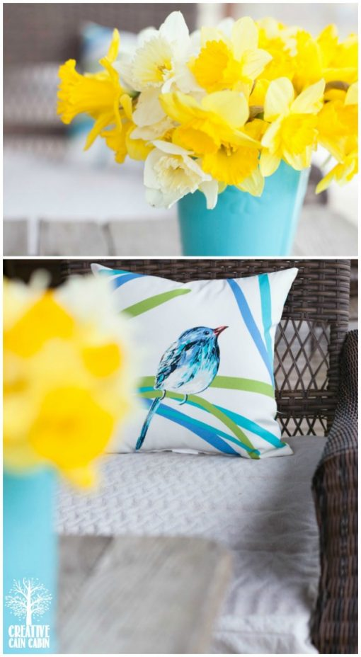 Daffodil Blooms | Bird Pillow | CreativeCainCabin.com
