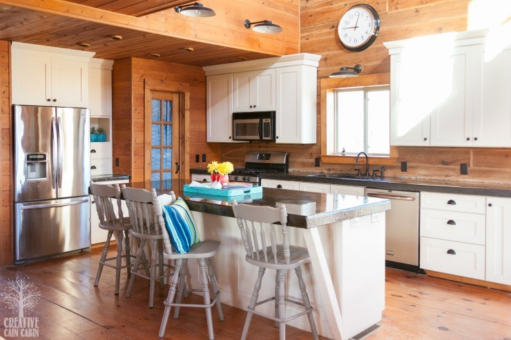 Log Home Kitchen   White Kitchen   Painted Bar Stools   Pops of Color   CreativeCainCabin.com