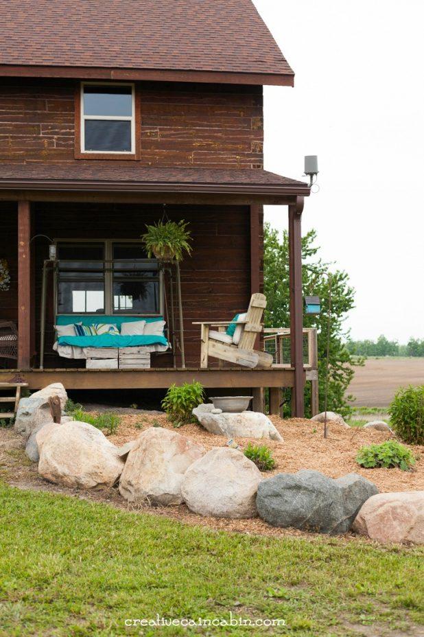 Mulched Flower Bed | Log Home | Perennial Garden | Porch Decor | CreativeCainCabin.com