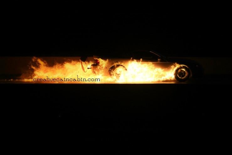 Motorcycle Races | Car on Fire | CreativeCainCabin.com