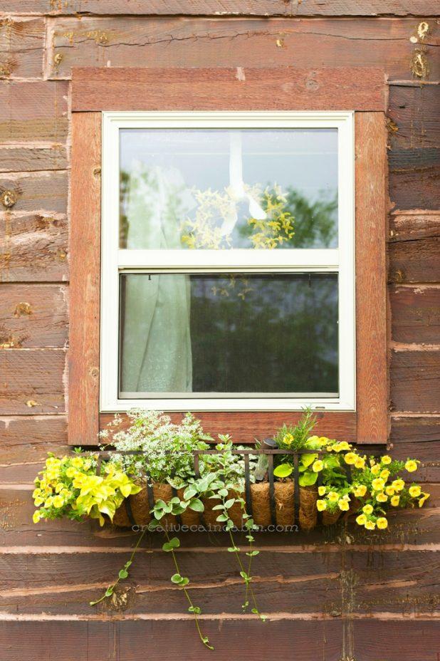 Rustic Window Flower Box | CreativeCainCabin.com