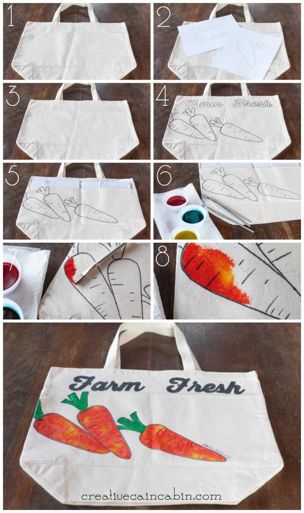 How to Make a Watercolor Effect Farmers Market Bag | CreativeCainCabin.com