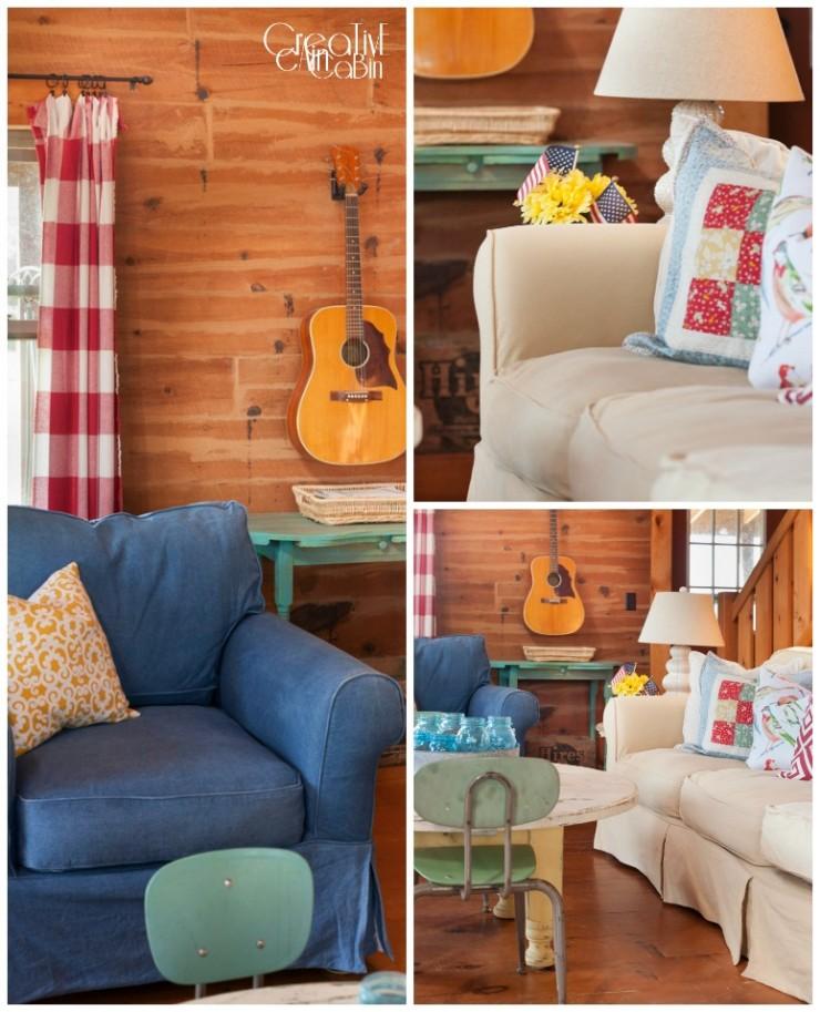 Red White Blue LivingRoom | Patriotic | Flag | Buffalo Check | Denim | Slipcover | Log Home | Wood Floors | CreativeCainCabin.com
