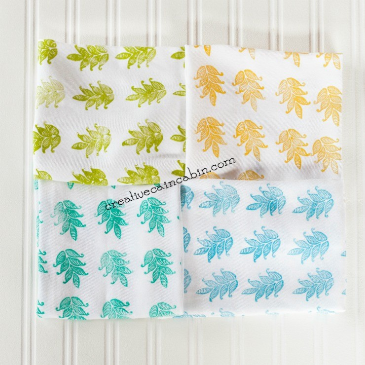 How to Stamp Napkins   Soft Fabric Ink   Fabric Creations   Block Printing Stamps   DIY   Craft   #plaidcrafts   #fabriccreations   @plaidcrafts   CreativeCainCabin.com
