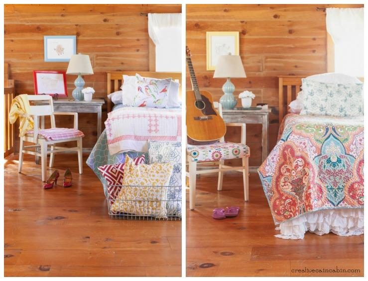 1 Quilt 2 Looks | Colorful Bedroom Decor | Jeweled Damask Quitl |Reversible Quilt | CreativeCainCabin.com