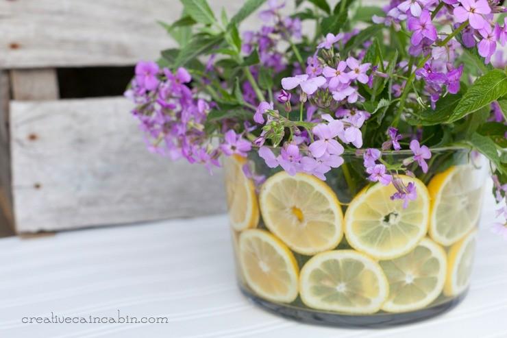 DIY Summer Flower Arrangement Using Wildflower Herbs and Citrus   CreativeCainCabin.com