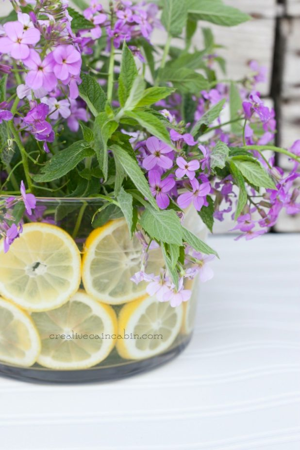 DIY Summer Flower Arrangement Using Wildflower Herbs and Citrus | CreativeCainCabin.com