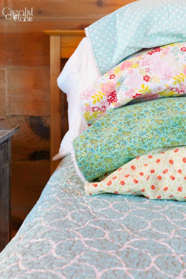 Reversible PillowCase | Farmhouse Style | Cottage Style | Vintage Fabric | Shabby Chic | CreativeCainCabin.com