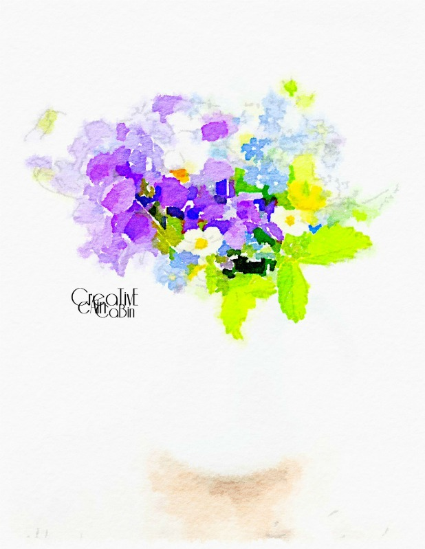 Summer Flower Arrangement Printable | Waterlogue | CreativeCainCabin.com