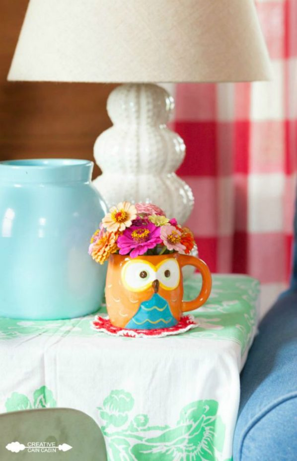 Owl Coffee Mug Used as a Vase for Zinnias | CreativeCainCabin.com