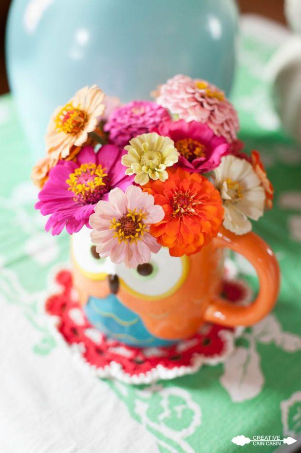Owl Coffee Mug Used as a Vase for Zinnias | CreativeCainCabin.com