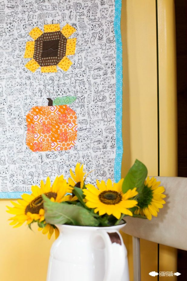 Pumpkin  and Sunflower Quilted Table Runner | Farm Girl Vintage | Sewing | Quilting | CreativeCainCabin.com