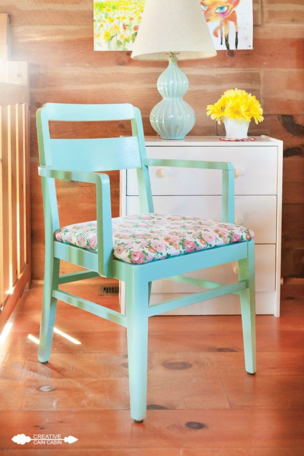 Painted Chair   Sherwin Williams ReFresh   Cabbage Rose Fabric   CreativeCainCabin.com
