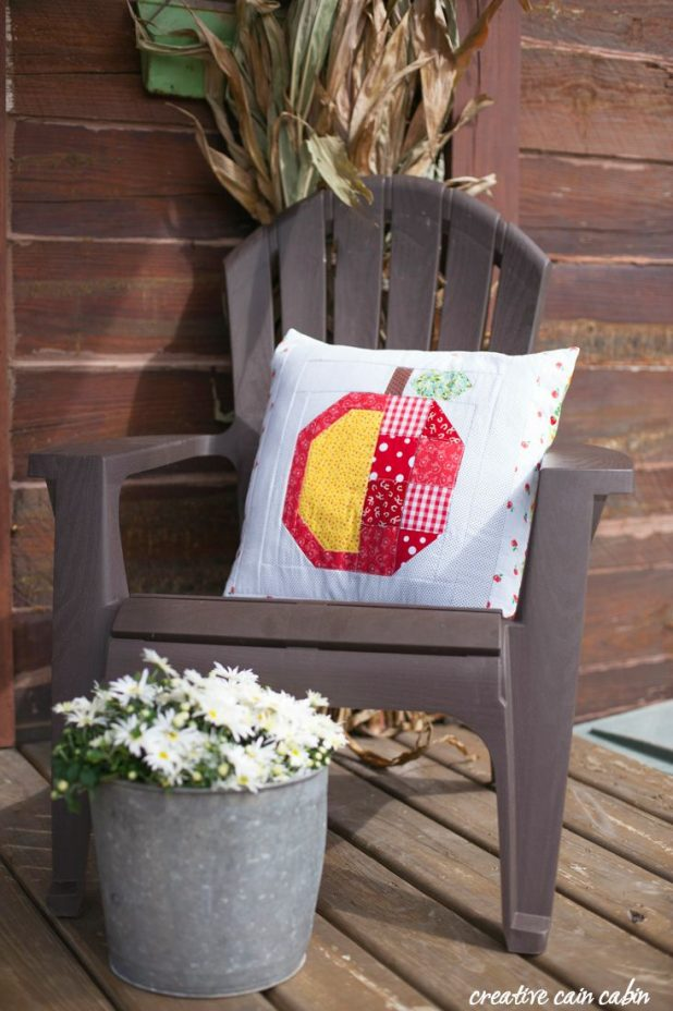 Apple Picking Quilt Square from The Farm Girl Vintage Book I'm making it into a pillow for my fall porch decor
