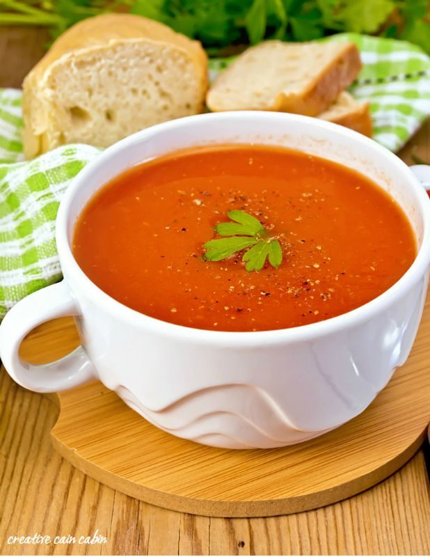 Simple Creamy Tomato Soup   In under 20 minutes you can have delicious homemade soup ready to server on a cold winters day with items from your pantry