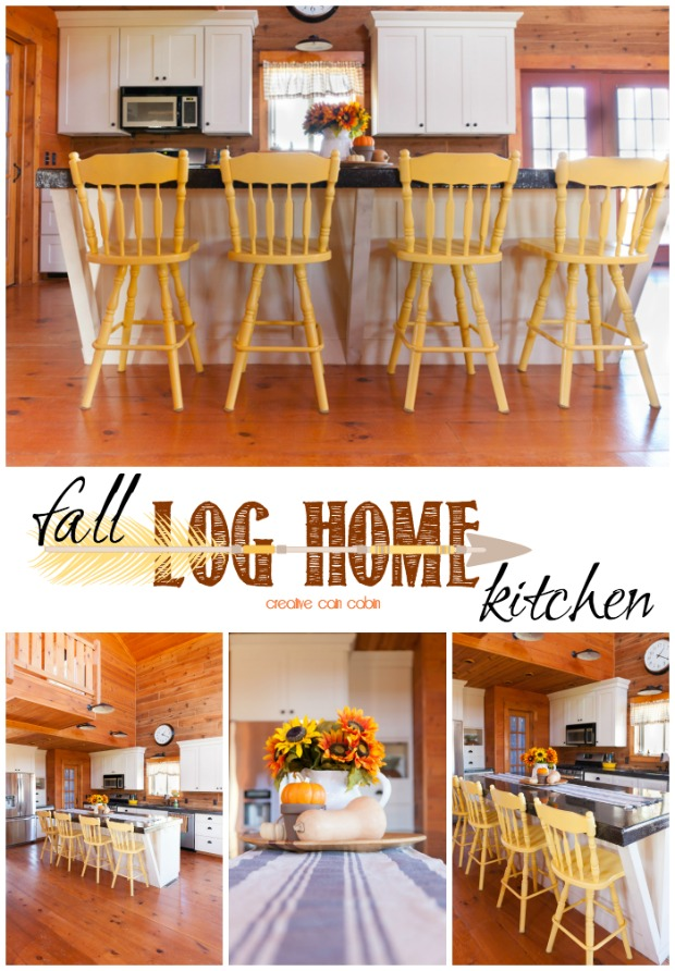 Simple Fall Kitchen Decor in a Log Home