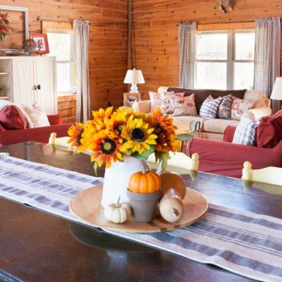 Fall Log Home Living Room Tour