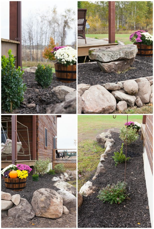 How To Landscape For Under $100 Using Natural Elements Such As Stone, Waiting Until Plants and Shrubs Go On Clearance.