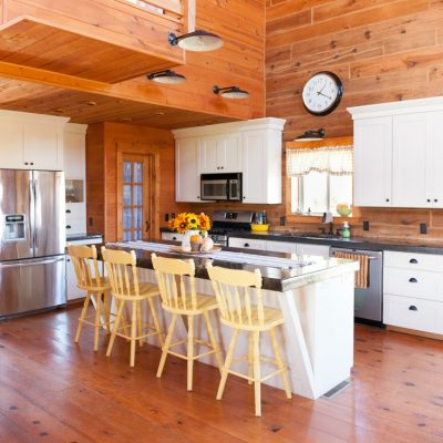 Fall Log Home Kitchen