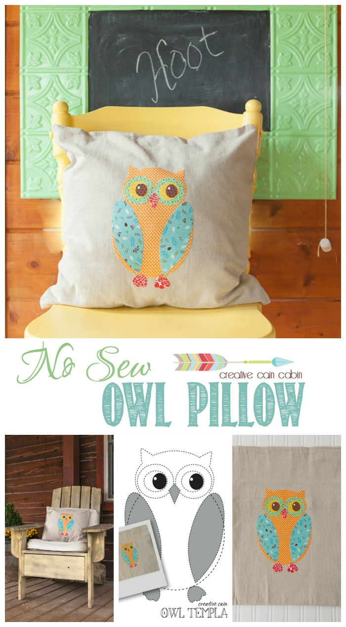 Diy No Sew Owl Pillow Creative Cain Cabin