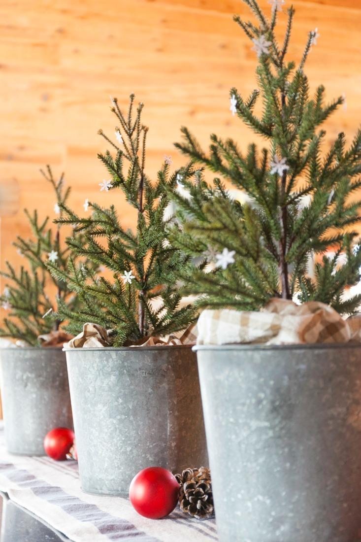 Kitchen Christmas Trees in Galvanized Buckets