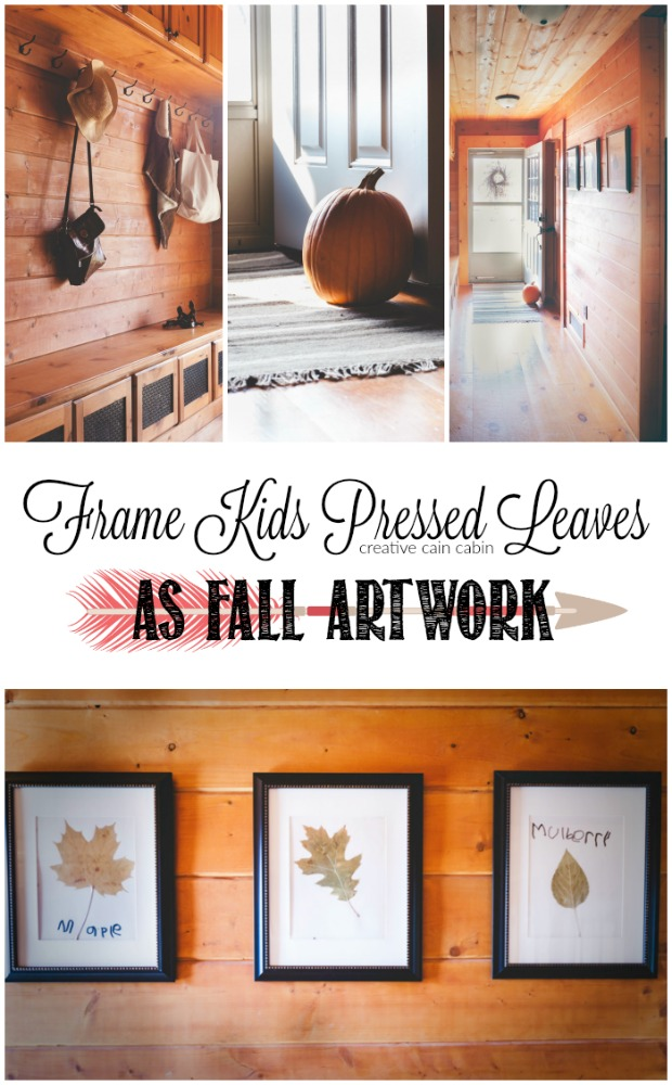 Decorate a Fall Entryway Using a Pumpkin as a Door Stop and Framed Pressed Leaves as Artwork