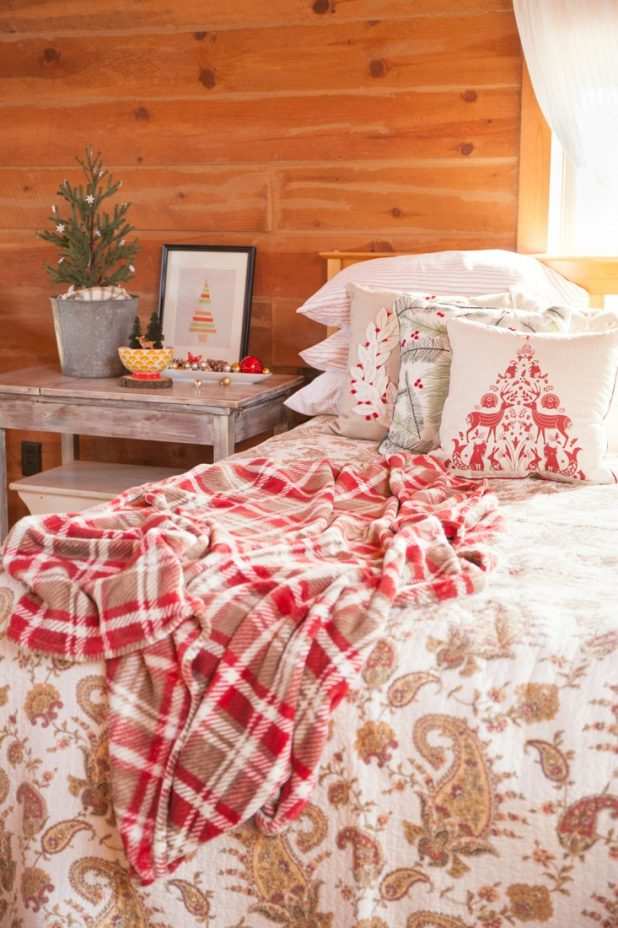Rustic Log Home Christmas Bedroom Decor