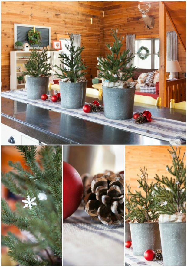 Kitchen Christmas Trees in Galvanized Buckets Dotted with Glitter Paper Snowflakes