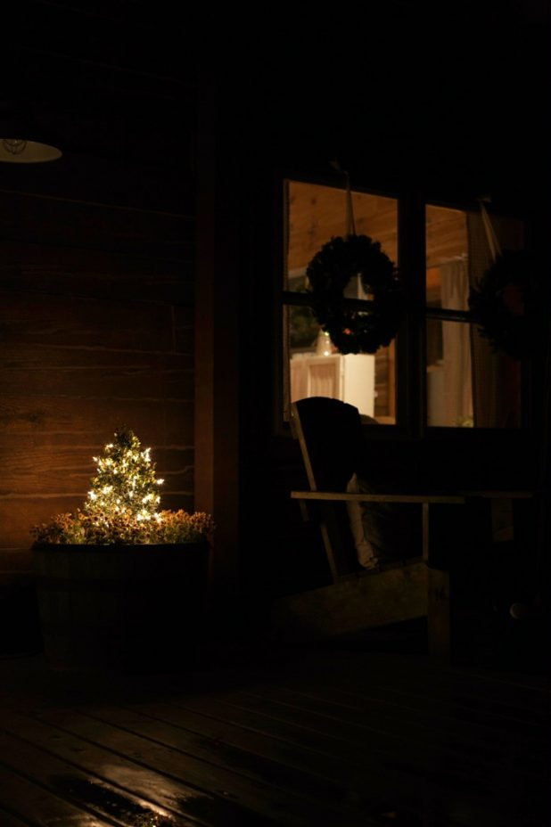 Christmas Cabin at Night