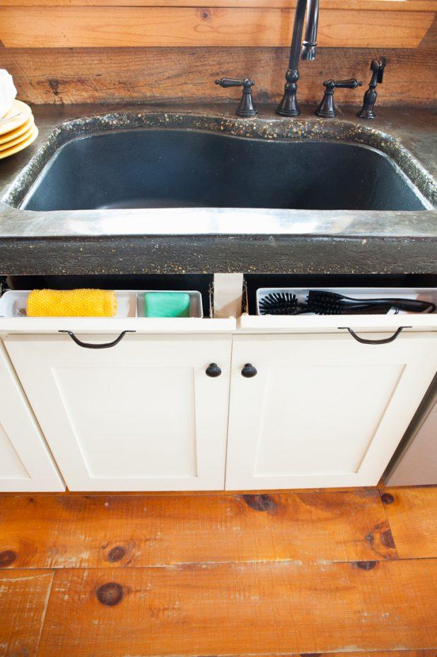 Kitchen Sink Organization Using Rev-A-Shelf Tip Out Sink Front Trays