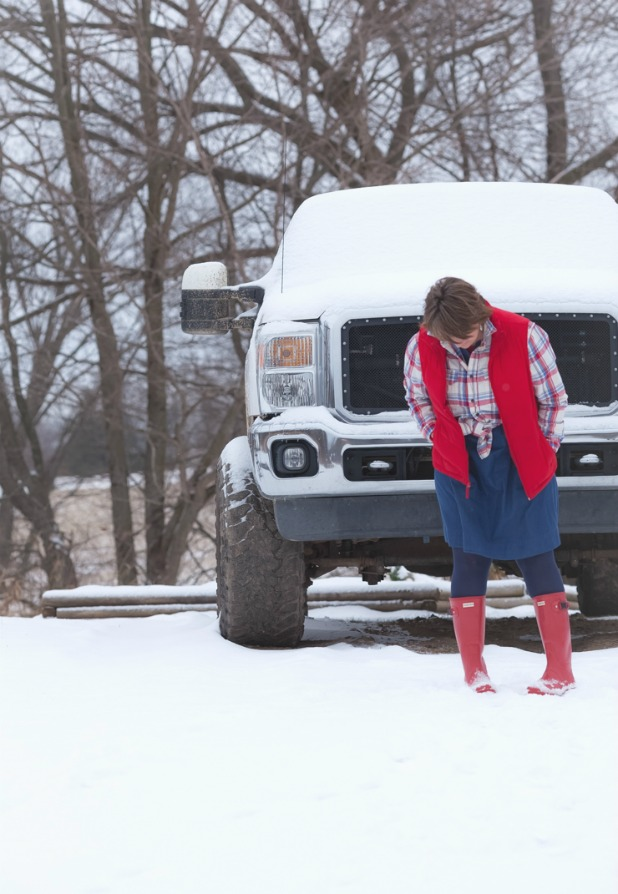 Red Hunter Boots, Denim Dress, Flannel Shirt, Red Puffy Vest, Ford Truck