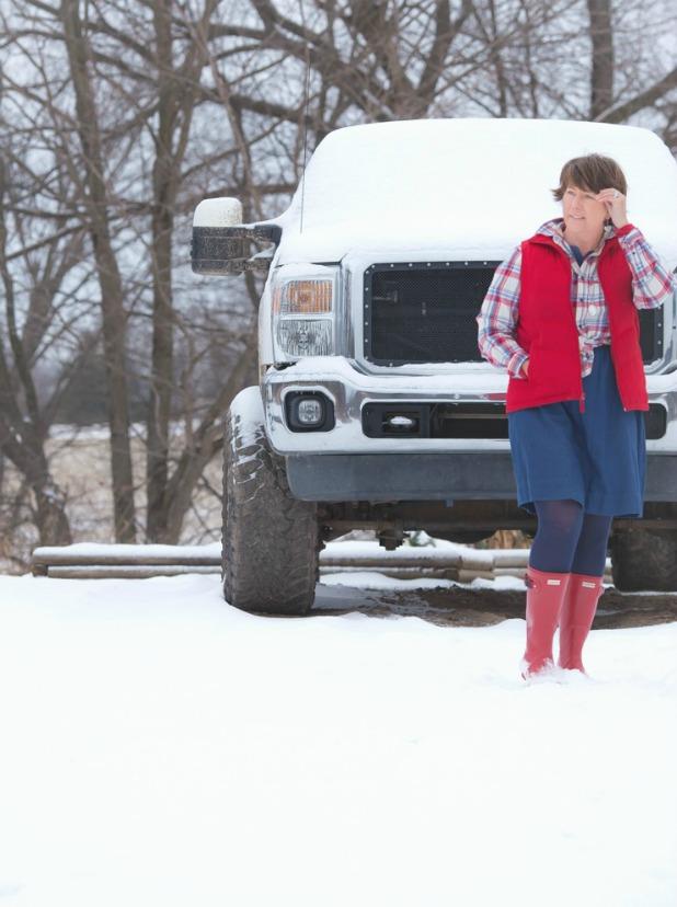Red Hunter Boots, Denim Dress, Flannel Shirt, Red Puffy Vest