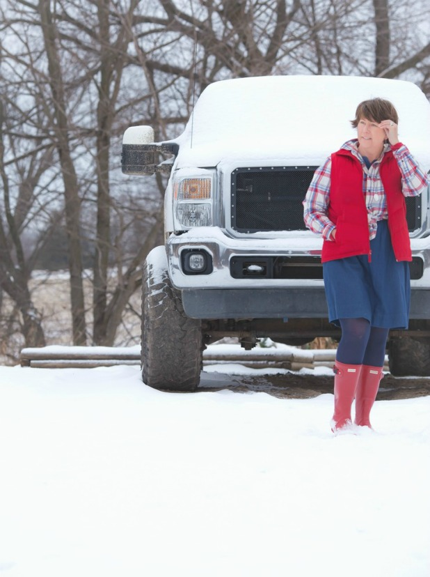 Red Hunter Boots, Denim Dress, Flannel Shirt, Red Puffy Vest