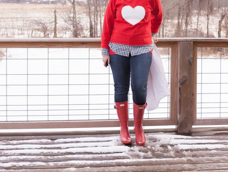 Red Hunter Boots with a DIY Valentine Heart Sweatshirt | Tutorial and Material List Included for this How To