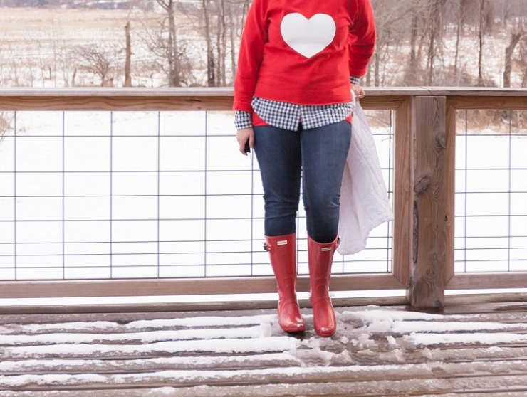 Red Hunter Boots with a DIY Valentine Heart Sweatshirt   Tutorial and Material List Included for this How To