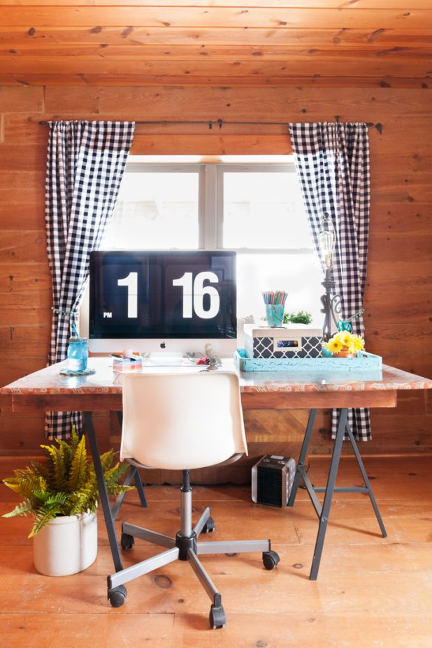Home Office Reveal With Desk Positioned in the Middle of the Room & Extra Storage Space Using Origami Shelves and Decorative Storage Boxes