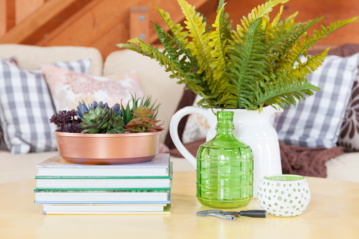 Coffee Table Decorating Using the 4 Square Method | Coffee Table Vignette Using Succulents, Ferns, Books for Height, and Green Glassware