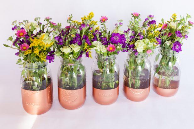 Copper Bottom Mason Jar Flower Vase Tutorial