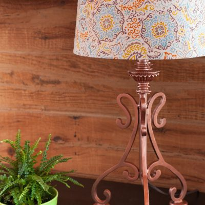 How to Recover a Lampshade & DIY Copper Lamp Base